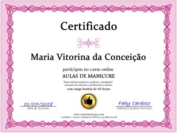 certificado curso manicure